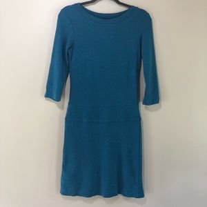 Horny Toad blue knit 3/4 sleeve dress S